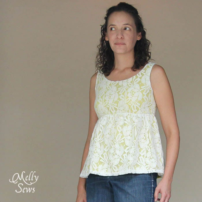 Close up Lace Shirt Refashion Tutorial - Melly Sews