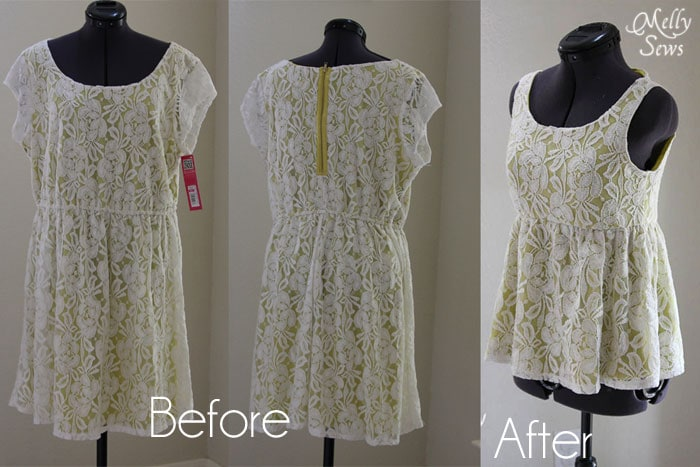 Before and After Lace Shirt Refashion Tutorial - Melly Sews