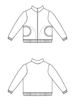 Line Drawing of Zippy Jacket Boys or Girls PDF Sewing Pattern by Blank Slate Patterns