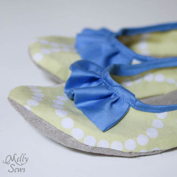Close up Sew Ruffled Slippers Tutorial - Melly Sews