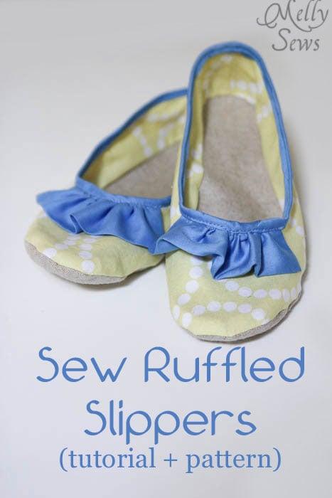 Sew Ruffled Slippers Tutorial - Melly Sews
