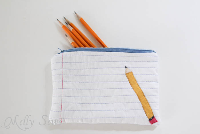 Front view of Notebook paper zipper pouch tutorial