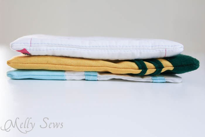 Side view of School Supply inspired zip pouches to sew - Melly Sews