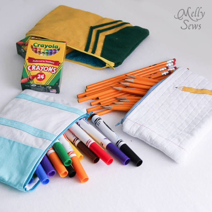 Love school supplies and these School Supply inspired zip pouches to sew - Melly Sews