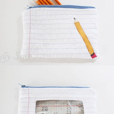 Notebook Paper and Pencil  Zipper Pouch Tutorial