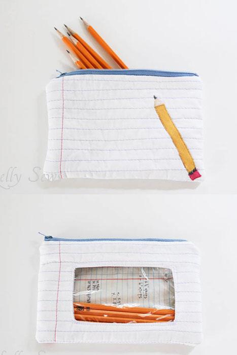 vinyl window insert in notebook paper zip pouch