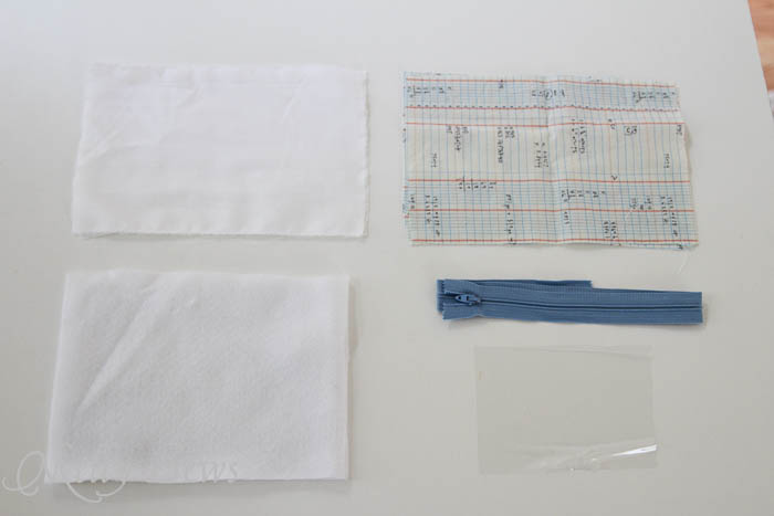 Supplies for Notebook paper zipper pouch tutorial
