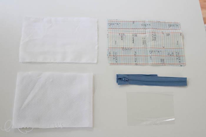 Supplies for Notebook paper zipper pouch tutorial