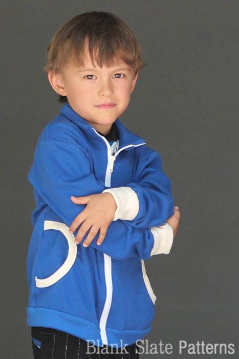 Close Up of Zippy Jacket Boys or Girls PDF Sewing Pattern by Blank Slate Patterns