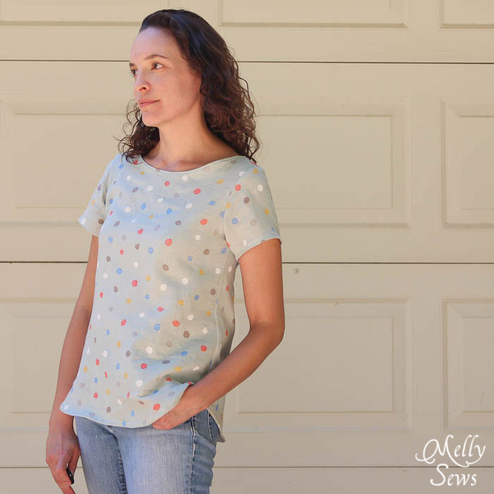 Comfy + Stylish Women's Bateau Neck Shirt Tutorial with free pattern (for a limited time) - Melly Sews https://mellysews.com