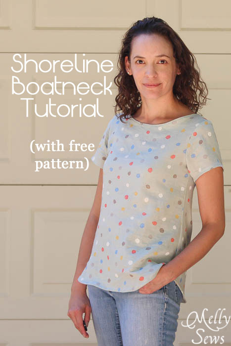 Women's Boat Neck Shirt Tutorial with free pattern (for a limited time) - Melly Sews https://mellysews.com #sewing #tutorial #fashion