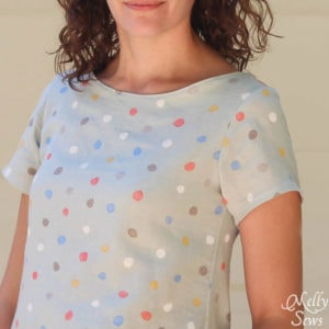 Close up of Women's Boatneck Shirt Tutorial with free pattern (for a limited time) - Melly Sews https://mellysews.com