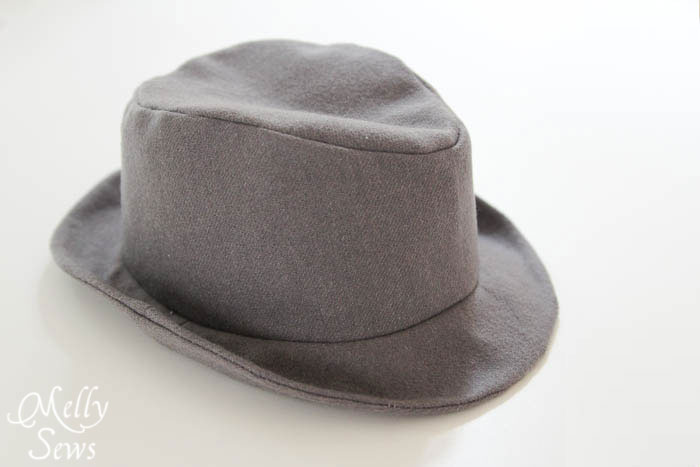 Shaped wool Elegance and Elephants Fedora sewn by Melly Sews