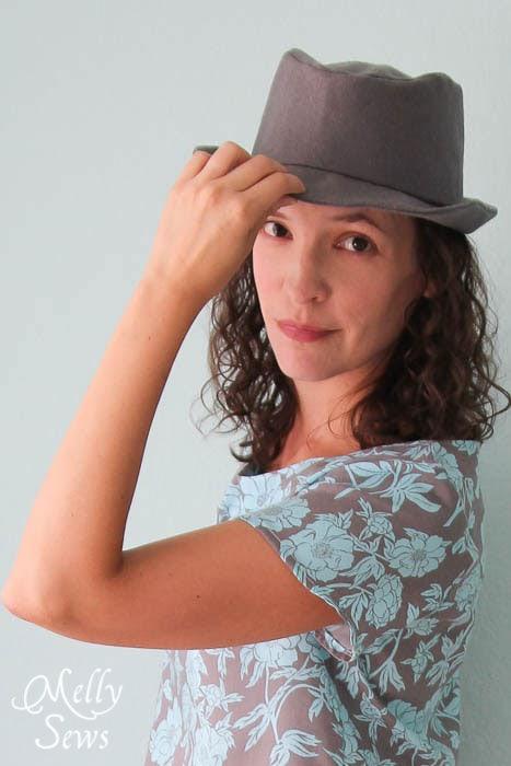 Elegance and Elephants Fedora sewn by Melly Sews