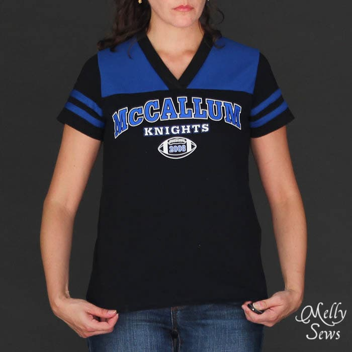 Upcycled t-shirts for this Football Jersey Tutorial with Free Pattern by Melly Sews