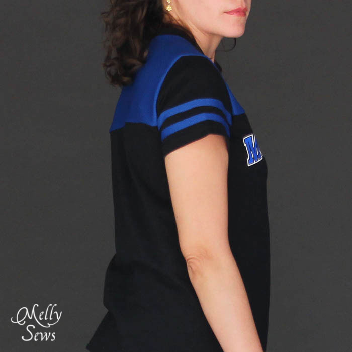 Sleeve Detail on Football Jersey Tutorial with Free Pattern by Melly Sews