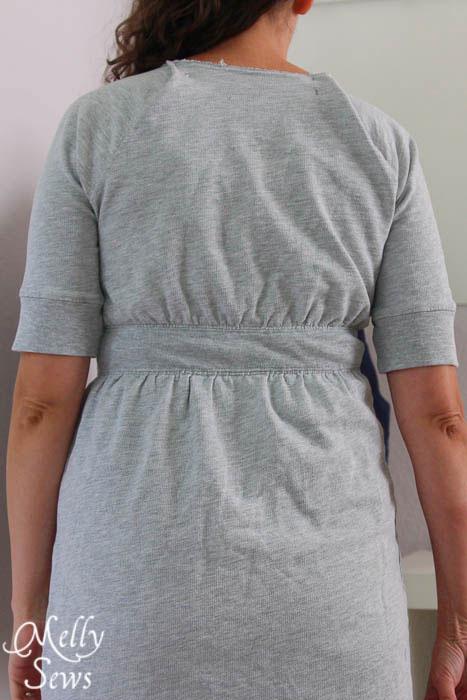 Petite torsos have a challenge in altering the shoulders of raglan dresses