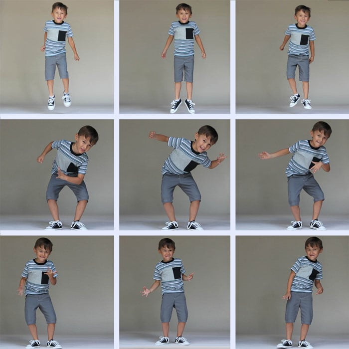 Kindergarten Jumping and Dancing, Sewing for Kindergarten - Tee Times Three and Clean Slate Shorts - Melly Sews