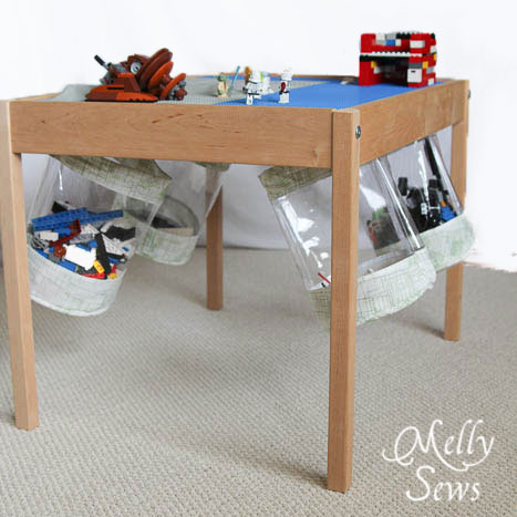 Under table Toy Storage Bucket Tutorial - Melly Sews