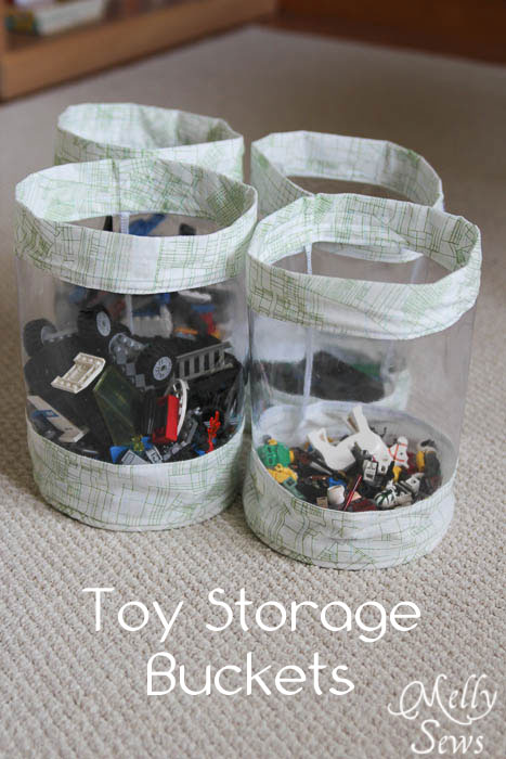 Fabric Storage Bucket Tutorial - Stash your toys -  Melly Sews
