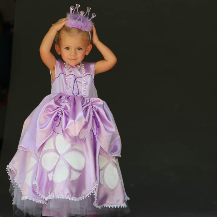 Holding up the crown with Inspired by Princess Sofia the First Dress Tutorial - Melly Sews
