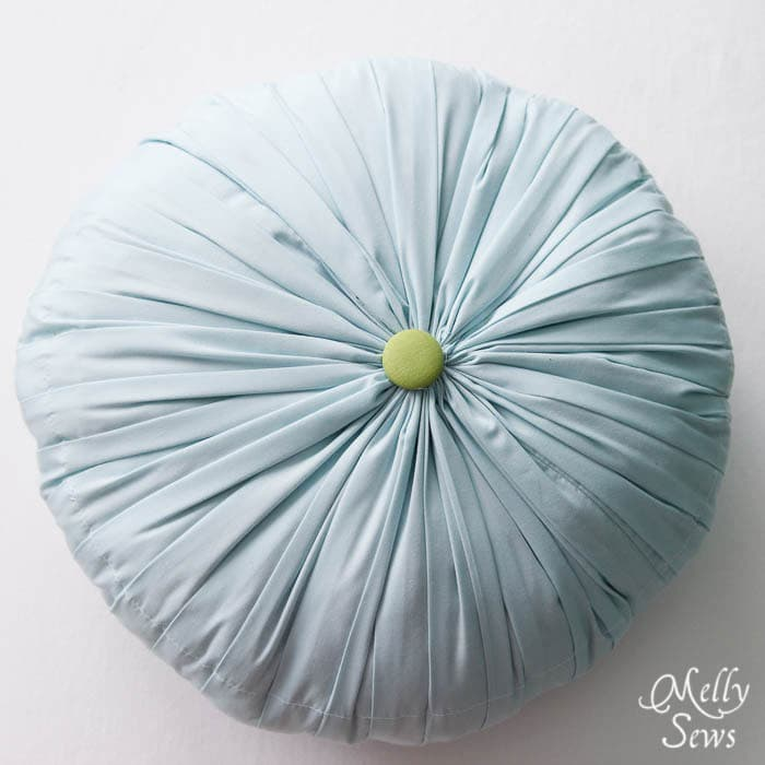 Top view Round Pleated Pillow Tutorial - Melly Sews