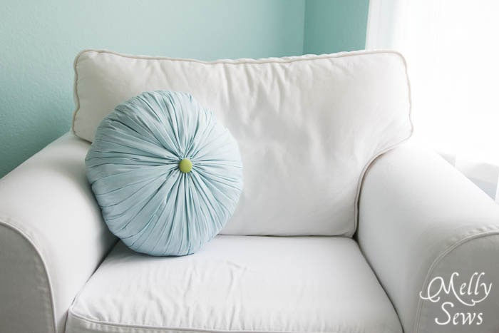 Cute Round Pleated Pillow Tutorial - Melly Sews