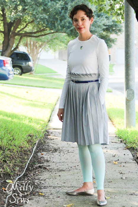 Looks for fall - mint leggings and Pleated Paper Bag Waist Skirt Tutorial - Melly Sews #diy #sewing #tutorial