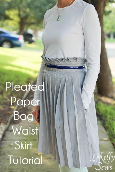 Pleated Paper Bag Waist Skirt Tutorial - Melly Sews #diy #sewing #tutorial
