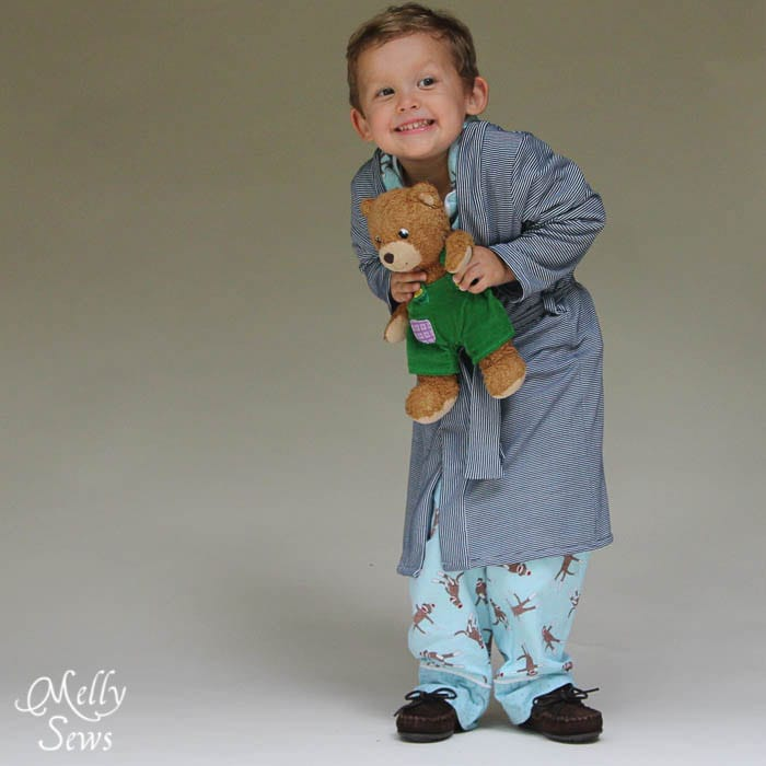 I want to squeeze him and the bear, and make this Sleepy Robe - Free Pattern and Tutorial for Children's Robe Sizes 18m-8 - Melly Sews#sewing #kids #tutorial #diy