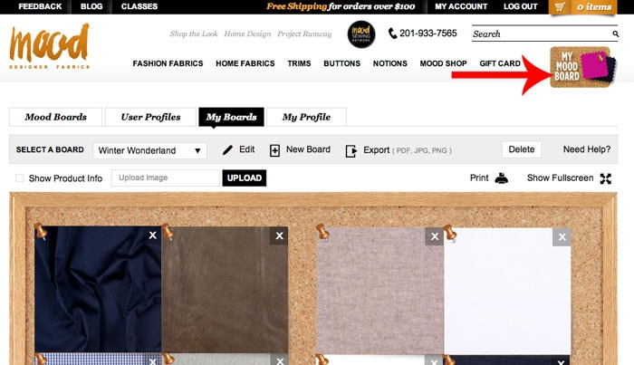Use Mood Boards for easy shopping - How to Buy Fabric Online - Melly Sews