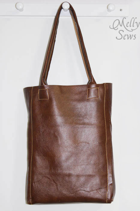 Front view - Leather Tote Tutorial - Melly Sews - #diy #sewing #tutorial