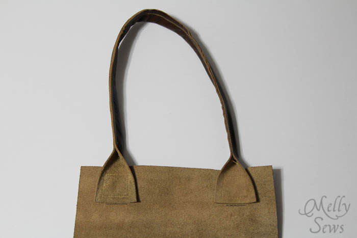 Attach handles - Boxy Leather Tote Tutorial - Melly Sews - #diy #sewing #tutorial