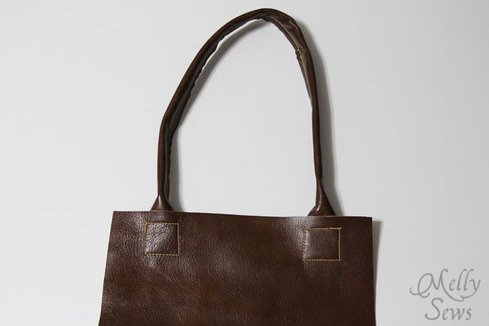 Handles - Boxy Leather Tote Tutorial - Melly Sews - #diy #sewing #tutorial