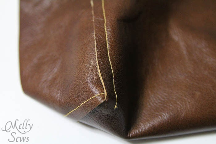 Bottom corners - Boxy Leather Tote Tutorial - Melly Sews - #diy #sewing #tutorial
