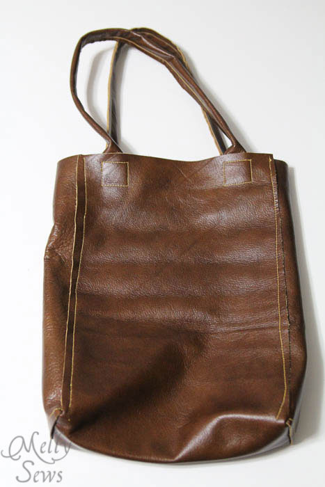 Finished tote - Boxy Leather Tote Tutorial - Melly Sews - #diy #sewing #tutorial