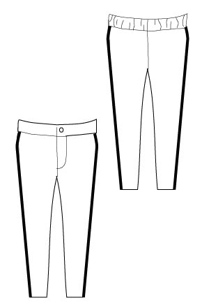 LIne drawing of Super Skinny Pants PDF Sewing Pattern by Blank Slate Patterns