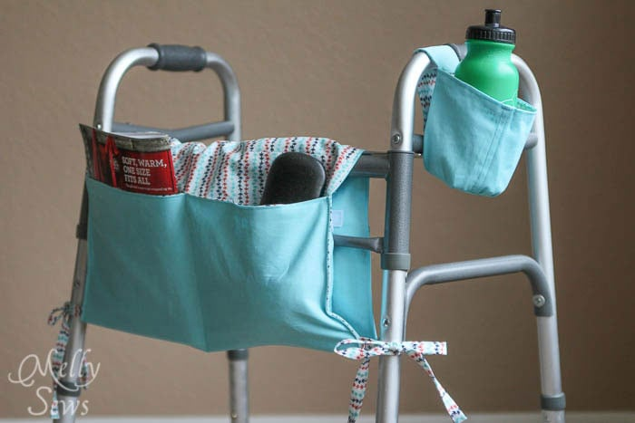 Walker Caddy and Cup Holder - Melly Sews - http://mellysews.com