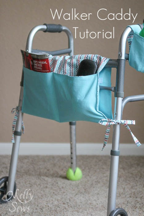 Walker Caddy Tutorial - by Melly Sews - #sewing #diy - great gift idea for elderly friends and relatives