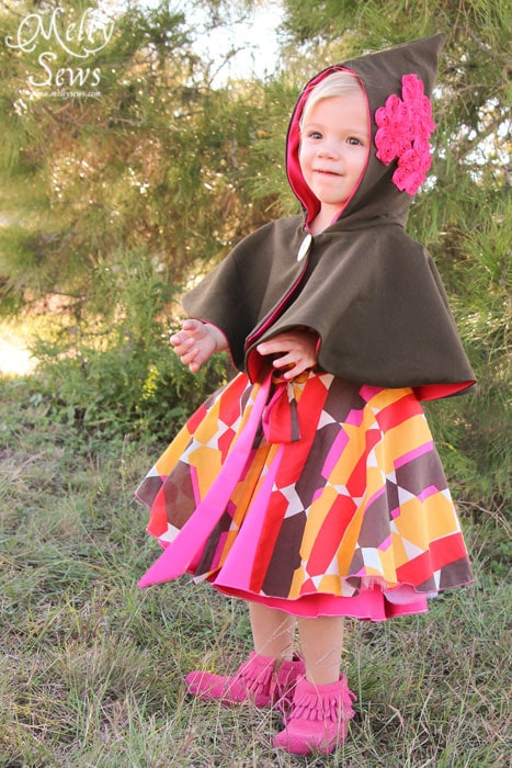 A cape is a great winter cover that won't muss a dress - Kids Holiday Style Tips - Melly Sews