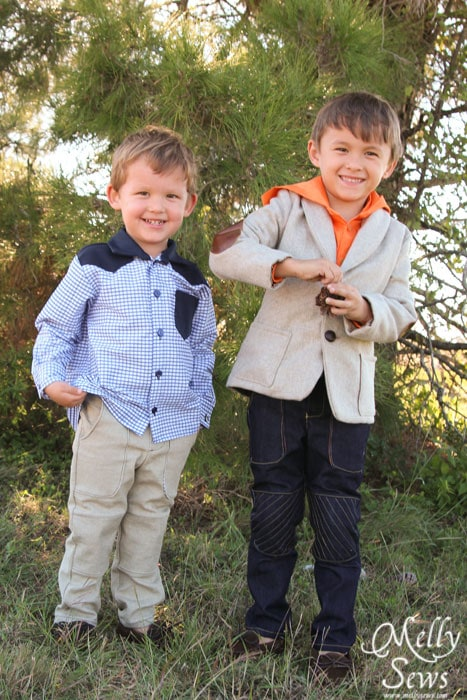 Brothers in coordinating outfits - Kids Holiday Style Tips - Melly Sews