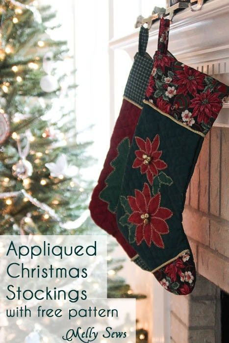 Christmas Stocking Tutorial with a Free Pattern from www.mellysews.com