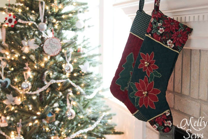To make - Appliqued Stockings - Free Christmas Stocking Pattern - Melly Sews #holiday #Christmas #DIY #sewing