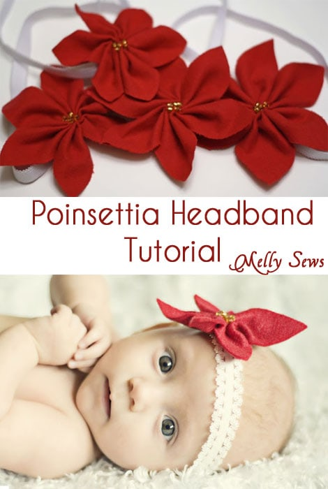 Poinsettia Headband Tutorial - Quick and Easy Gift - Melly Sews #sewing #DIY #holiday #Christmas