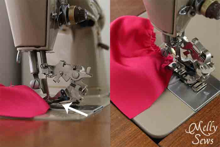 Using a ruffle foot to gather fabric - Melly Sews