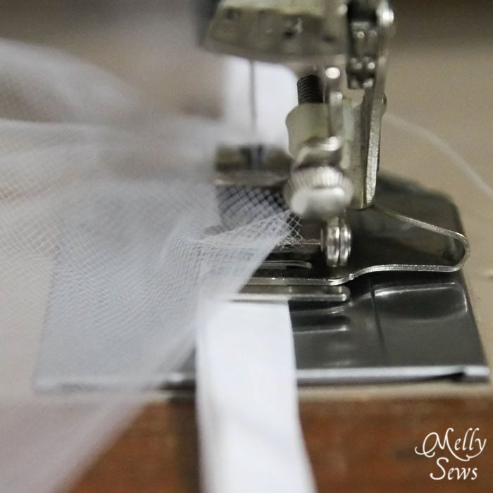 Use a ruffle foot to attache tulle to bias tape - Melly Sews