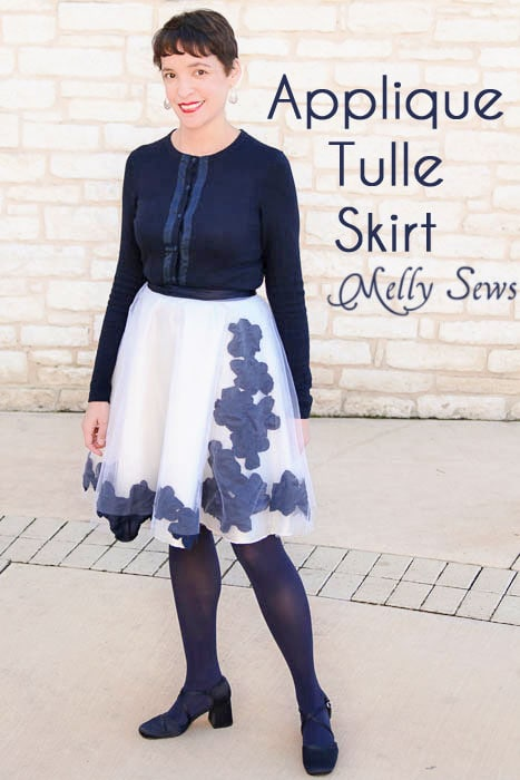 Appliqued tulle skirt tutorial - Melly Sews #diy #fashion #sewing