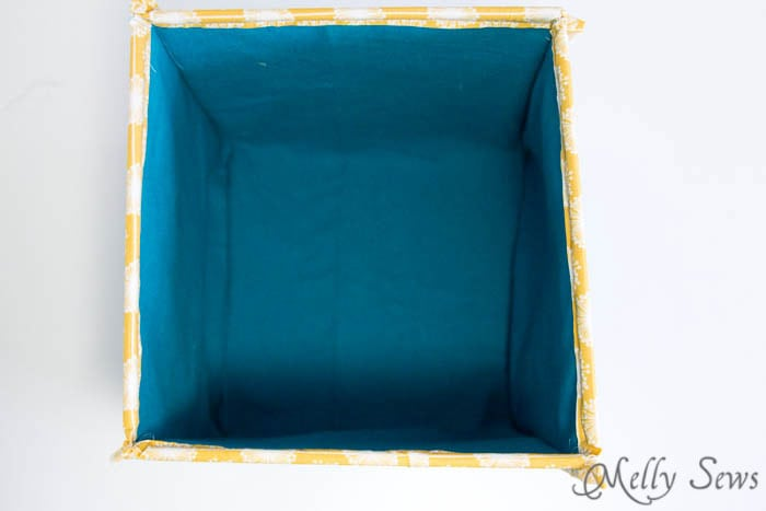 Inside of finished Fabric Box - How to Sew Collapsible Fabric Storage Boxes - MellySews.com