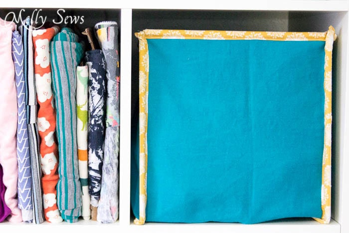 Fill bin with supplies - How to Sew Collapsible Fabric Storage Boxes - MellySews.com