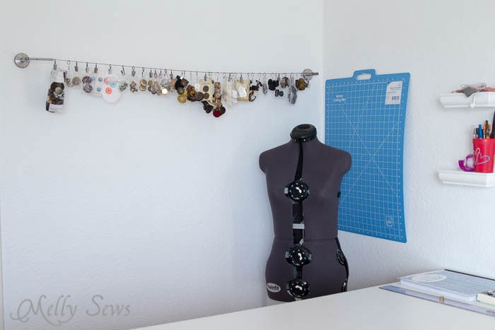 Button wall in sewing studio - MellySews.com
